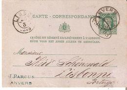 EP. C.P. N° 12 ANVERS Du 15/3/1878 V/LISBONNE - Marque Portugaise FRANCA Sur Le Timbre - Stamped Stationery