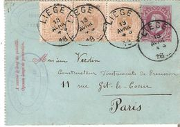EP. Carte-lettres N° 1 + TP.28(3) Càd LIEGE 13/4/1881 V/PARIS. TB Affranch.25c. RARE S/Carte-lettres - Letter-Cards