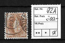 1882 - 1906 STEHENDE HELVETIA Gezähnt → SBK-92A - 1882-1906 Armoiries, Helvetia Debout & UPU