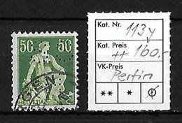 1940 HELVETIA MIT SCHWERT → SBK 113y Kreidepapier Mit Glatter Gummierung ►PERFIN◄ - Suisse
