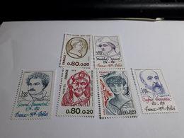 """Timbre France Série YT 1880 à 1882 1896 à 1898 """" Célébrités """" 1976 Neuf - France"""