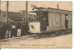 MARSEILLE..GUERRE 1914....Arrivée Des Blessés....carte RARE , Interréssante....,officiers Et Soldats.... Vieux Wagon.... - Marseille