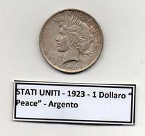 "Stati Uniti -  1923 - 1 Dollaro ""Peace"" - Argento - (FDC6552) - Federal Issues"