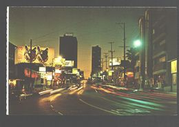 Hollywood - Night View Of A Portion Of The World Famous Sunset Strip - Los Angeles