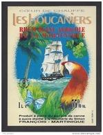 Etiquette De  Rhum Blanc Agricole De La Martinique  -  Les Boucaniers  - Simon François Martinique - Thème Bateau Oiseau - Rhum