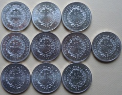 Lot De 10 Pièces De 50 Francs Hercule En Argent/silver - M. 50 Francs