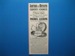 """(1927) Guérison Des Morsures De Serpents Venimeux Par La Méthode Et La """" Trousse MICHEL LEGROS """" - Limoges - Alte Papiere"""