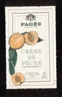 Etiquette  De  Crème De Pêche -  Pagès Le Puy En Velay  (43) - Etiquettes
