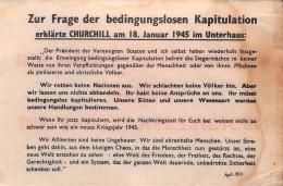 WWII WW2 Tract Flugblatt Propaganda Leaflet  Code AgG.35a  Zur Frage Der Bedingungslosen Kapitulation… FREE SHIPP - Vieux Papiers