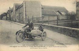 MOTO SIDE-CAR 750 CC ROVER - PILOTE DELABRE - 1° DANS PARIS-REIMS-PARIS - PNEU HUTCHINSON - RARE BEAU PLAN ET MODELE - Motos