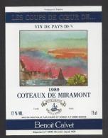 Etiquette De Vin De Pays Des Coteaux De Miramont 1989 -  Les Coup De Coeur De ...  -   Chais Saint Winoc à Bierne  (59) - Non Classés
