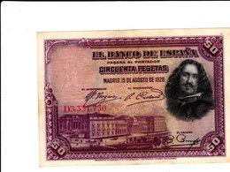 Lot De 3 Billets : 50, 25 Et Una Peseta En état Voir Scans - [ 1] …-1931 : Premiers Billets (Banco De España)