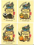 4 Etiquettes  50cl  Punch Coco, Maracudja, Planteur, Schrubb Au Rhum LONGUETEAU - GUADELOUPE - - Rhum