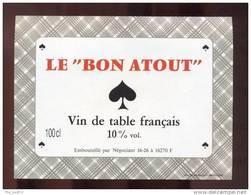 Etiquette De Vin De Table     -       Le Bon Atout (cartes à Jouer Pique) - Playing-cards