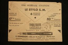 Lettre PTT Publicité Stylo Plume Flamme Cheques Postaux Lyon 29/9/36 - Poststempel (Briefe)