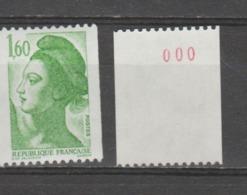 France / 1982 / Y&T N° 2222a ** : Liberté 1F60 (roulette N° Rouge = 000) X 1 - Ungebraucht
