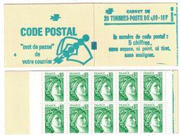 """CARNET OUVERT 1970 Sabine """"CODE POSTAL"""" 20 TIMBRES / TRES BON ÉTAT (COTE 45€) - Booklets"""