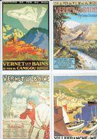 Anciennes Pubs Chemin De Fer Du Midi - Vernet-les-Bains En Pyrénées Orientales - Villefranche Sur Mer - Ferrovie