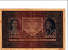 POLSKA KRAJOWA BILLET DE 5000 MAREK POLSKICH 1920 EN ETAT VOIR SCANS - Pologne