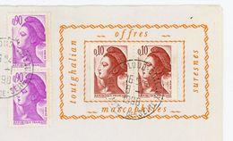 LIBERTÉ N° Yvert 2179 + 2242 - AVEC PORTE TIMBRE IMPRIMÉ SUR ENV. DU 6/1/1990 DE St CLOUD - 1982-90 Liberty Of Gandon