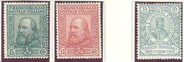 Italie: Yvert N°83/86; 3 Valeurs - Neufs