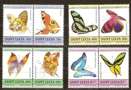 Faune Vlinders Papillons Butterflies Saint Lucia 1985 Yvertnr. 720-27 *** MNH Cote 7,50 Euro - St.Lucie (1979-...)