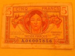 5 FRANCS TRESOR FRANCAIS Territoires Occupés - Treasury
