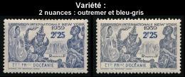 OCEANIE (Ets Fr.) 1939 - Yv. 129 * X 2 Ex Variété De Teintes - Expo New-York  ..Réf.AFA22903 - Ozeanien (1892-1958)