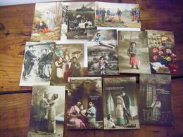 WW1 1914 1918 - 49 CARTES TOUTES DIFFERENTES PATRIOTIQUES PROPAGANDE DRAPEAUX PERSONNAGES TOUTES EN PHOTOS - War 1914-18