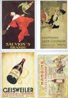 4 Anciennes Pubs-Sauvion's Brandy-Champ Léon Chandon A Reims-Geisweiler Nuits St Georges-Hanoine Pouilly-en-Auxois - Alcools