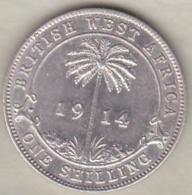 British West Africa . 1 Shilling 1914 H . George V . Argent .KM# 12 - Monedas