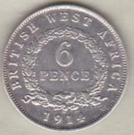 British West Africa . 6 Pence 1914 H . George V . Argent .KM#  11 - Monnaies