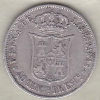 Espagne , 40 Centimos De Escudo 1868 (*18*68) Isabel II . Argent .KM# 628.2 - [ 1] …-1931 : Royaume