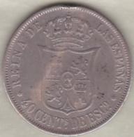 Espagne , 40 Centimos De Escudo 1866 (* à 6 Branches) Isabel II . Argent .KM# 628.2 - [ 1] …-1931 : Royaume