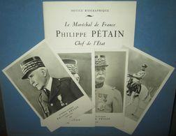 """""""Notice Biographique Phillipe Petain Chef De L'Etat"""" Vichy/Occupation - Dokumente"""