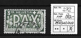 1945 PAX GEDENKAUSGABE ZUM WAFFENSTILLSTAND → SBK-272 Mit Stempel MAGADINO - Suisse