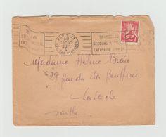 """LSC1941- Flamme """"donnez Au Secours National Entr'aide D'hiver"""" +YT 433 Seul Sur Lettre + Cachet LA FLECHE (Sarthe)au Dos - Marcophilie (Lettres)"""