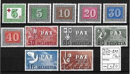1945 PAX GEDENKAUSGABE ZUM WAFFENSTILLSTAND → SBK-262* Bis 271* - 1843-1852 Kantonalmarken Und Bundesmarken