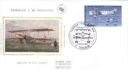 France  -  Farman F60 'Goliath'  -  Aquarelle Par Paul Lengellé   -  FDC - Premier Jour D'Emission - Aerei