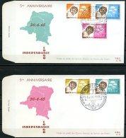 Congo Rep. Dem Congo   FDC   594 - 598    ----   1965   --  2 Enveloppes  --  5 Valeurs - FDC