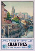 Chartres á Une Heure De Paris 1930 - Postcard Reproduction - Publicité