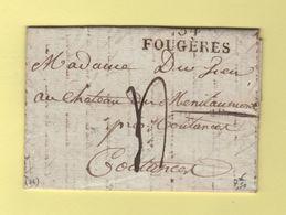 Fougeres - 34 - Ille Et Vilaine - 1827 - Marcophilie (Lettres)