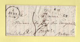 Coutances - 48 - Manche - 1830 - Courrier De Roncey - Marcophilie (Lettres)
