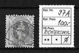 1882 - 1906 STEHENDE HELVETIA Gezähnt → SBK-97A Mit Stempel RICHTERSWYL - Oblitérés