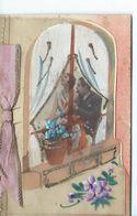 CPA Double FANTAISIE Celluloïd Volet Intérieur Bonne Année Ruban Fleurs Photo  Couple Sur Fenêtre 1934 - Phantasie