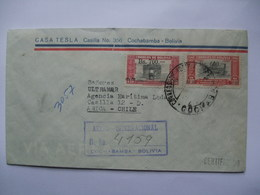 BOLIVIA - 1950`s Cover Registered Air Mail Cochabamba To Arica Chile Tied With Overprinted Stamps - Bolivie
