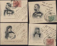 4 Mini CPA Regele Carol I Principesa Maria Principele Ferdinand Regina Elisabeta CAD 1901 CONSTANTA Bureau Français - Romania