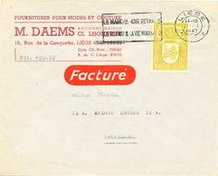 ZZ278 -- Enveloppe TARIF SPECIAL FACTURE - TP Armoiries 90 C LIEGE 1947 - Entete Modes Et Couture Daems - Briefe U. Dokumente