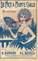 06-NICE-PARTITION MUSICALE-DE NICE A MONTE CARLO- MONACO- FOX TROT- E. DUMONT - MUSIQUE F.L. BENECH-1925-EVENTAIL - Scores & Partitions