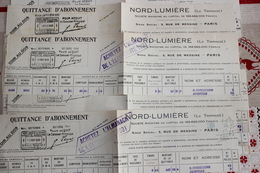 LOT 19 FACTURES QUITTANCE D ABONNEMENT NORD LUMIERE  LE TRIPHASE  JAMBVILLE   78 - Electricité & Gaz